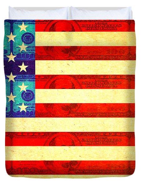 American Money Flag Duvet Cover