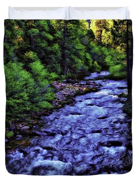 Duvet Cover featuring the photograph American River-d by Nancy Marie Ricketts