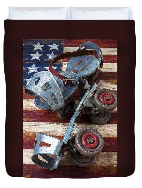 American Roller Skates Duvet Cover by Garry Gay