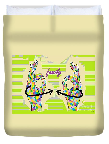American Sign Language Family                                                    Duvet Cover