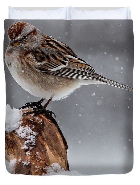 American Tree Sparrow In Snow Duvet Cover