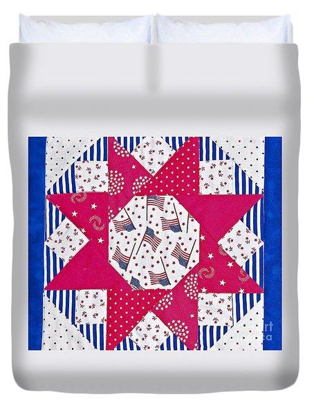 Americana Quilt Block Design Art Prints Duvet Cover