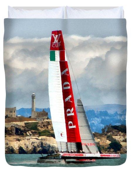 America's Cup And Alcatraz Ll Duvet Cover