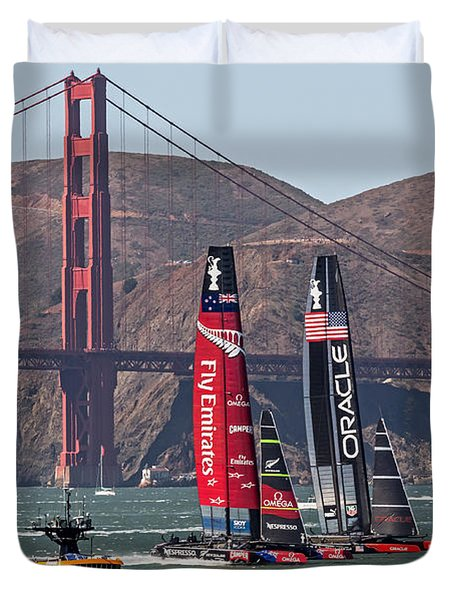 Duvet Cover featuring the photograph Americas Cup At The Gate by Kate Brown