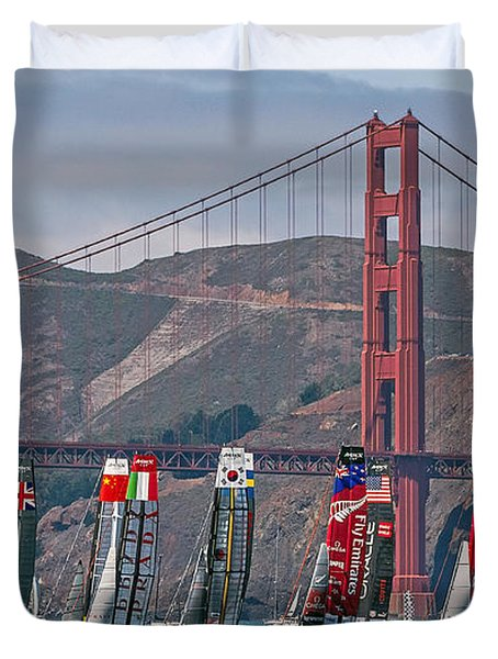 Duvet Cover featuring the photograph Americas Cup Catamarans At The Golden Gate by Kate Brown