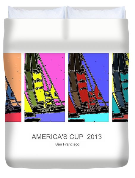 America's Cup Poster 3 Duvet Cover by Andrew Drozdowicz