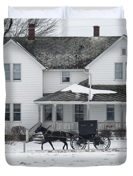 Amish Buggy And Amish House Duvet Cover