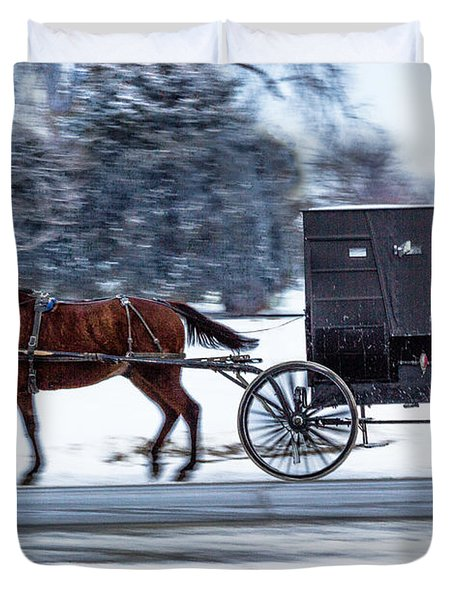 Amish Buggy In Winter Duvet Cover