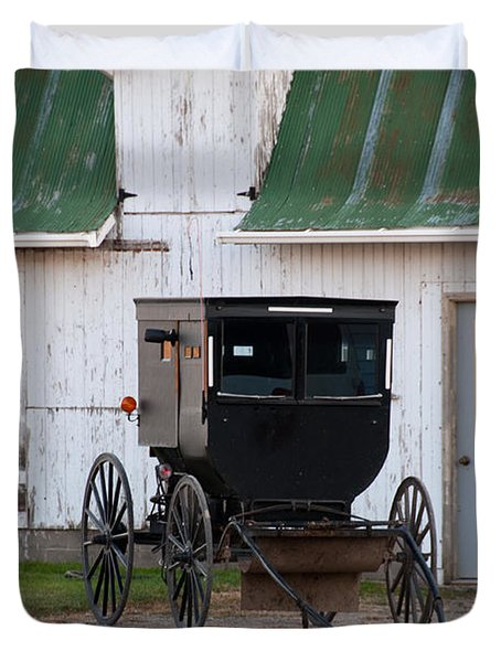 Amish Buggy White Barn Duvet Cover