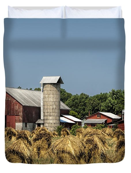 Amish Farm Wheat Stack Harvest Duvet Cover by Kathy Clark