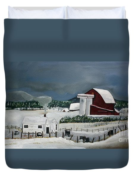 Duvet Cover featuring the painting Amish Farm - Winter - Michigan by Jan Dappen