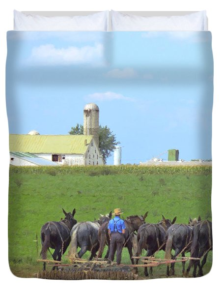 Amish Farmer Working The Land Duvet Cover by Diane Diederich