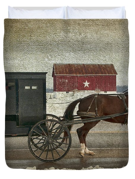 Amish Horse And Buggy And The Star Barn Duvet Cover