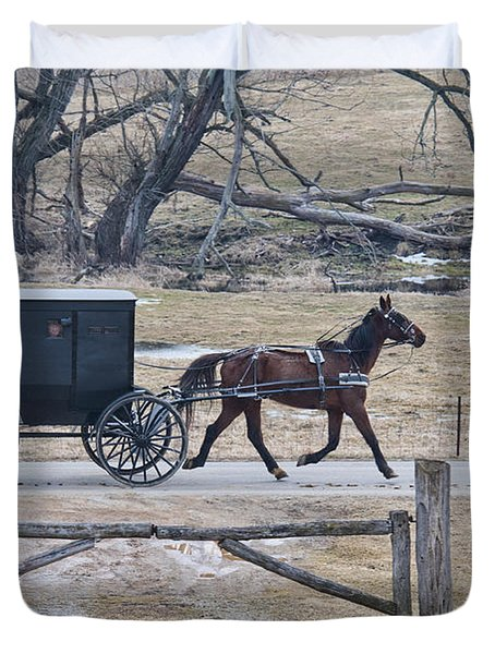 Amish Horse And Buggy March 2013 Duvet Cover