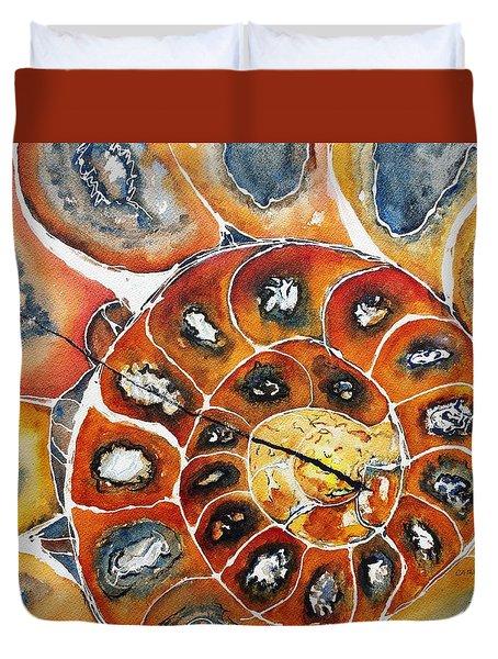 Ammonite Fossil Shell Duvet Cover