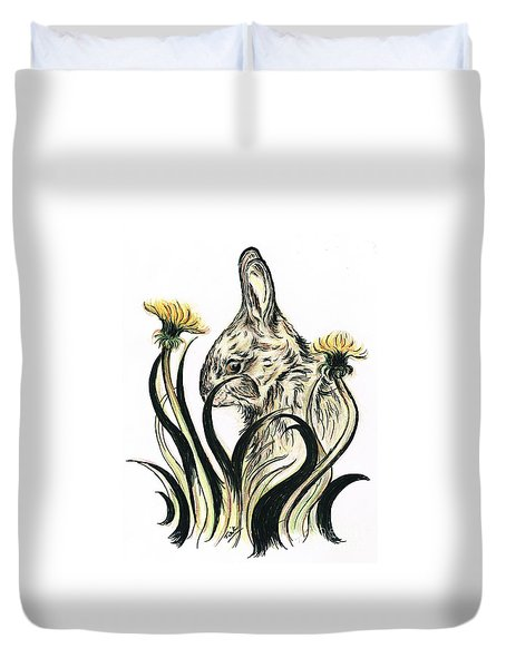 Rabbit- Amongst The Dandelions Duvet Cover