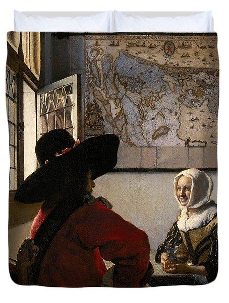 Amorous Couple Duvet Cover by Jan Vermeer