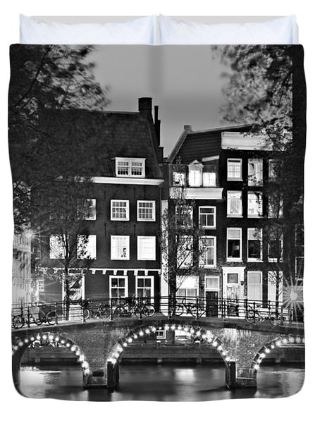 Duvet Cover featuring the photograph Amsterdam Bridge At Night / Amsterdam by Barry O Carroll