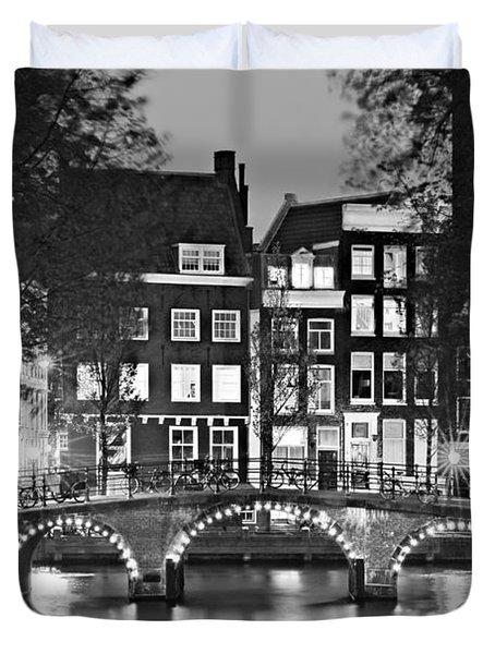 Amsterdam Bridge At Night / Amsterdam Duvet Cover