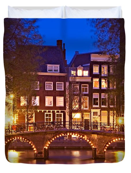 Duvet Cover featuring the photograph Amsterdam Bridge At Night by Barry O Carroll