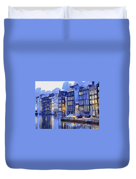 Amsterdam With Blue Colors Duvet Cover by Georgi Dimitrov