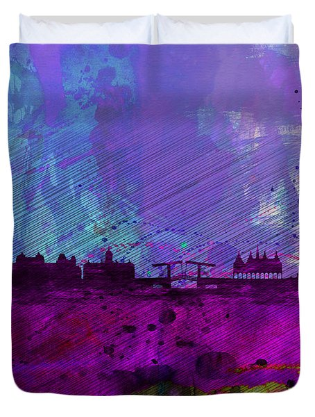 Amsterdam Watercolor Skyline Duvet Cover by Naxart Studio