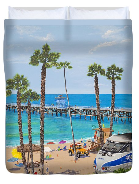 Duvet Cover featuring the painting Perfect Beach Day by Mary Scott