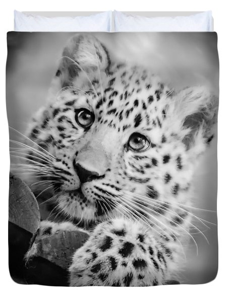 Amur Leopard Cub Portrait Duvet Cover