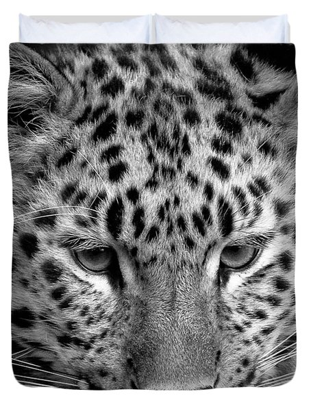 Amur Leopard In Black And White Duvet Cover