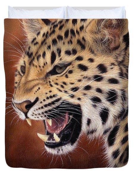 Amur Leopard Painting Duvet Cover by Rachel Stribbling