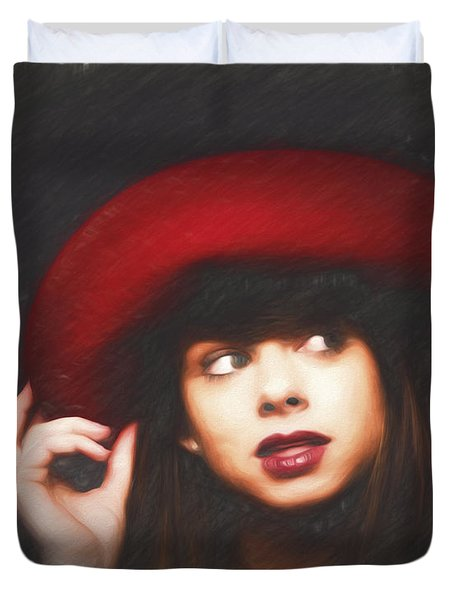 Amy And The Red Hat  ... Duvet Cover