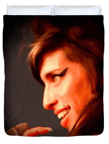 Amy Winehouse Duvet Cover by Michael Pickett