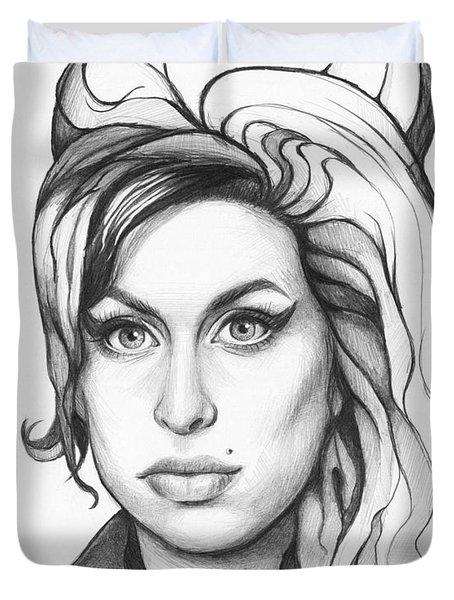 Amy Winehouse Duvet Cover by Olga Shvartsur