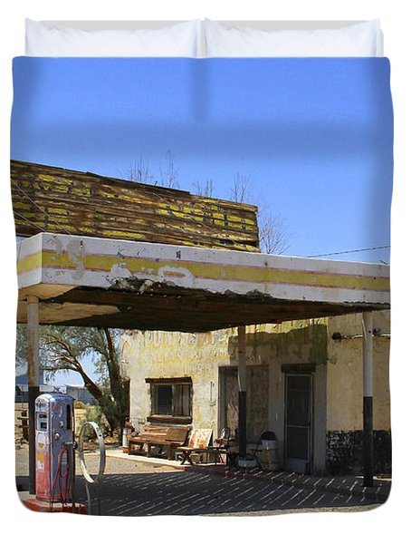 An Abandon Gas Station On Route 66 Duvet Cover by Mike McGlothlen
