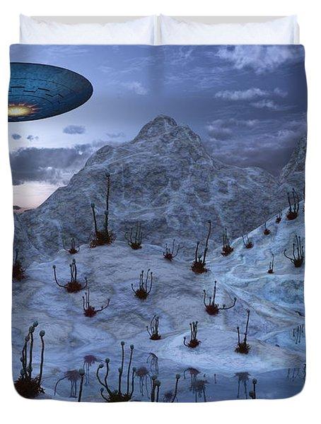 An Alien Reptoid Being Signaling Duvet Cover by Mark Stevenson