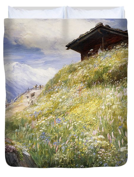 An Alpine Meadow Switzerland Duvet Cover