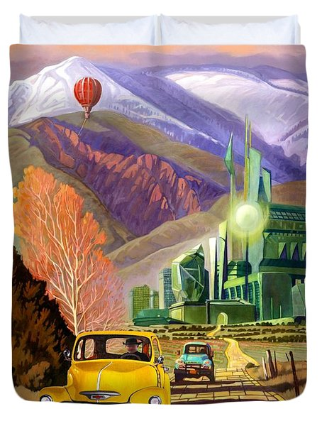 Duvet Cover featuring the painting Trucks In Oz by Art James West