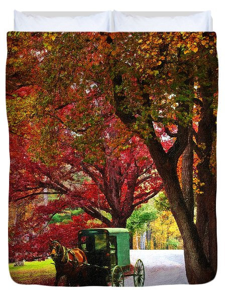 An Amish Autumn Ride Duvet Cover by Lianne Schneider