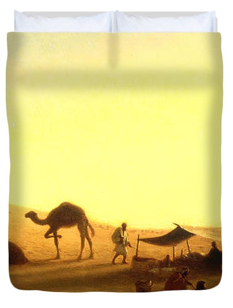An Arab Encampment  Duvet Cover by Charles Theodore Frere
