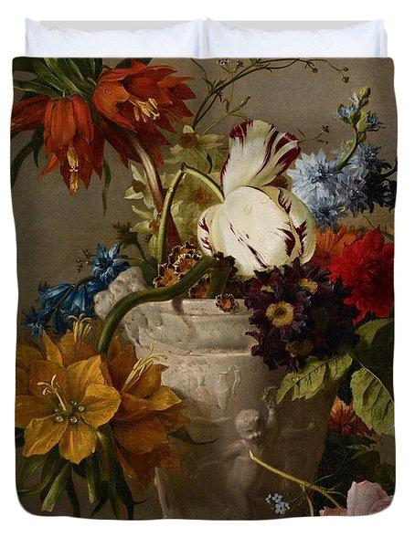 An Arrangement With Flowers Duvet Cover by Georgius Jacobus Johannes van Os