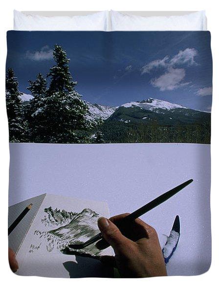 An Artist Makes A Sketch Duvet Cover