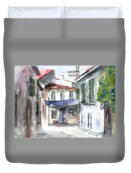 An Authentic Street In Urla - Izmir Duvet Cover