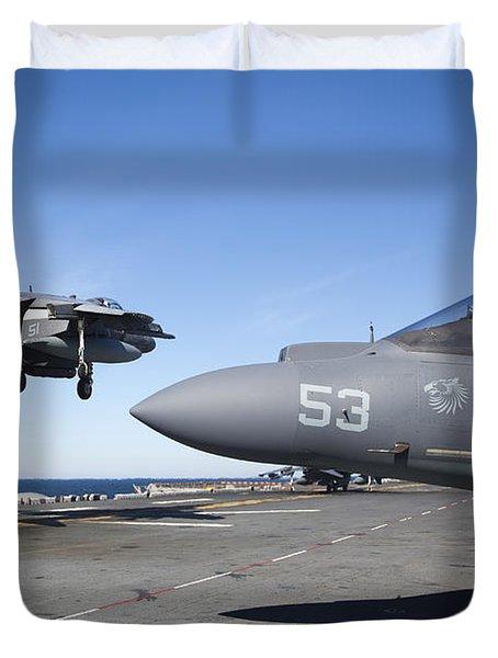 An Av-8b Harrier Lands On The Flight Duvet Cover