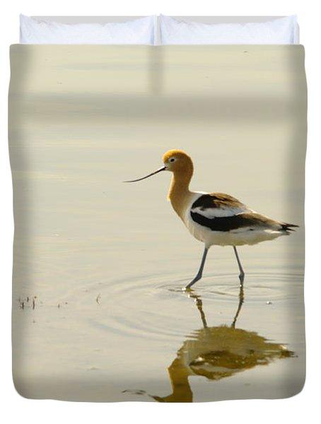 An Avocet Walking The Shore Duvet Cover by Jeff Swan
