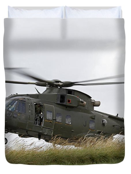 An Aw101 Merlin Helicopter Of The Royal Duvet Cover by Ofer Zidon
