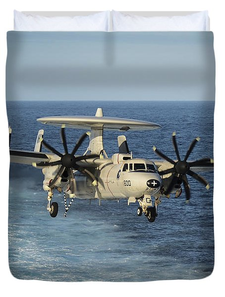 An E-2c Hawkeye Prepares To Land Duvet Cover by Stocktrek Images