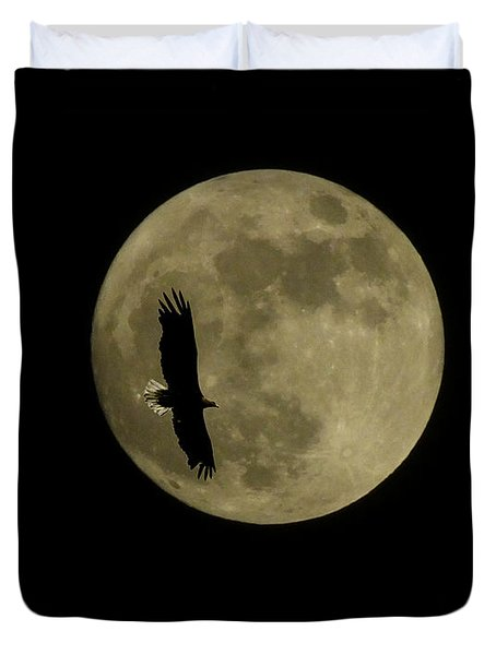 An Eagle And The Moon Duvet Cover