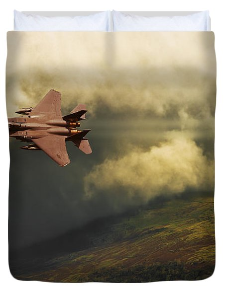 Duvet Cover featuring the photograph An Eagle Over Cumbria by Meirion Matthias