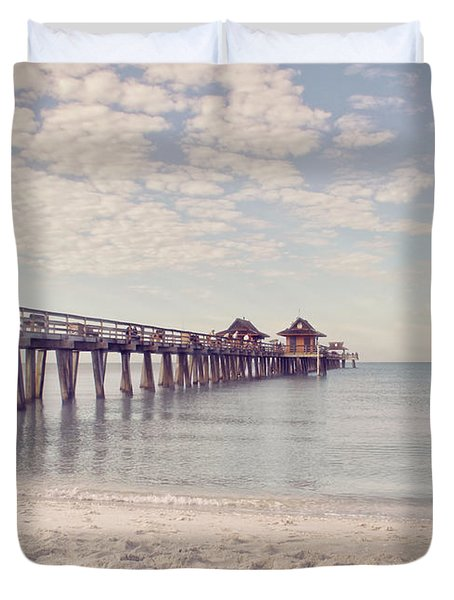 An Early Morning - Naples Pier Duvet Cover