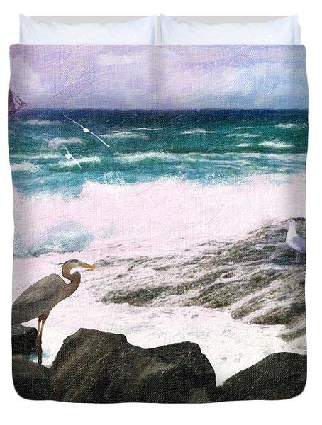 Duvet Cover featuring the digital art An Egret's View Seascape by Lianne Schneider